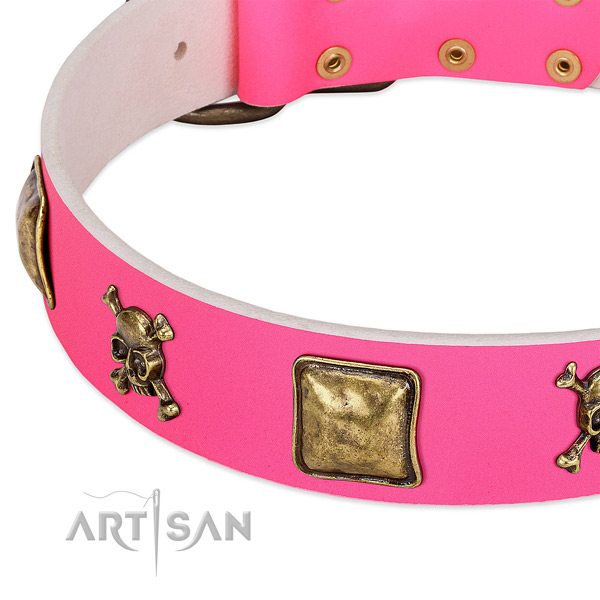 Gentle to touch full grain natural leather dog collar with fashionable adornments