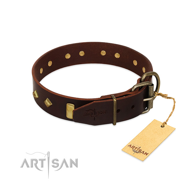 Leather dog collar with rust resistant traditional buckle for everyday use