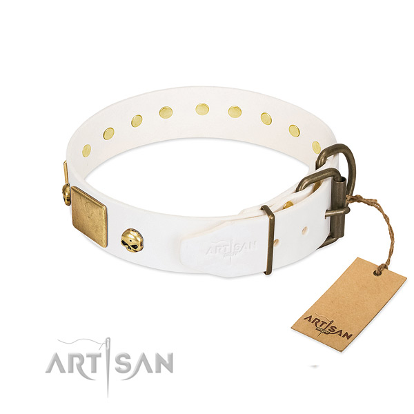 Soft to touch leather collar handmade for your four-legged friend