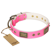 """Frenzy Candy"" FDT Artisan Decorated Pink Leather Doberman Collar"