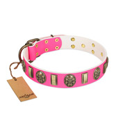 """Perilous Beauty"" Pink FDT Artisan Leather Doberman Collar with Small Plates and Skulls"
