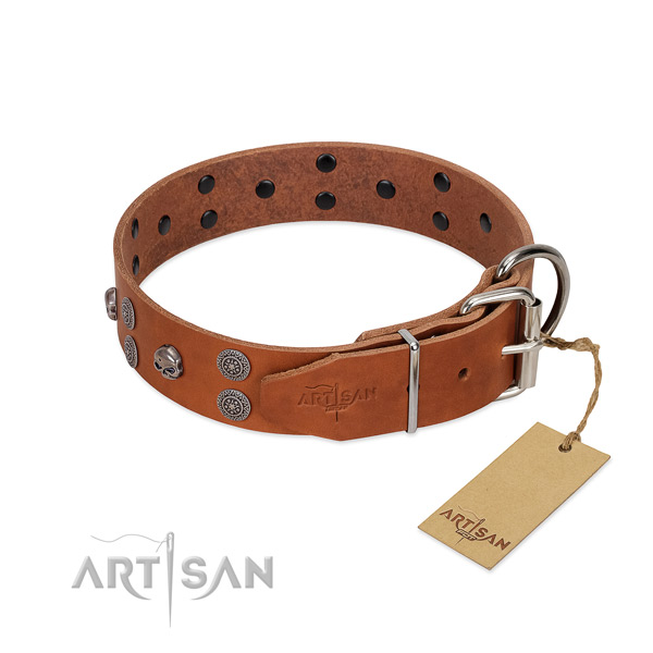 Soft to touch full grain genuine leather dog collar with decorations for everyday use