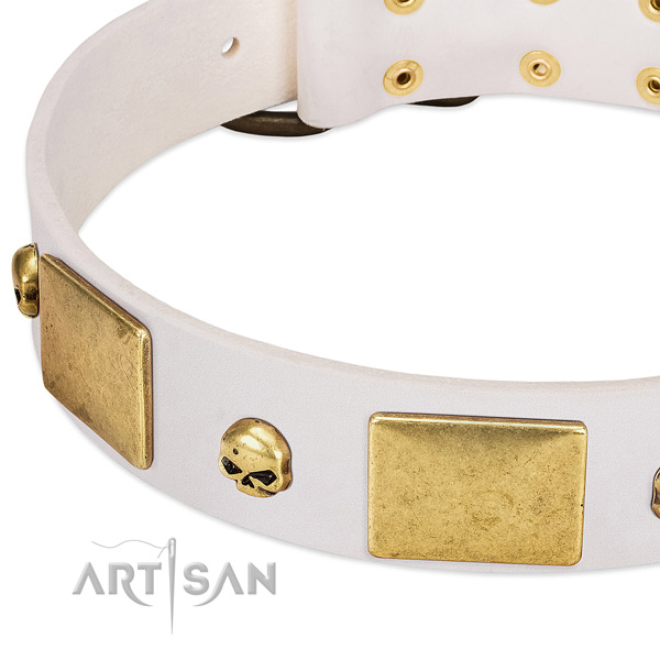 Top notch natural leather collar handcrafted for your dog