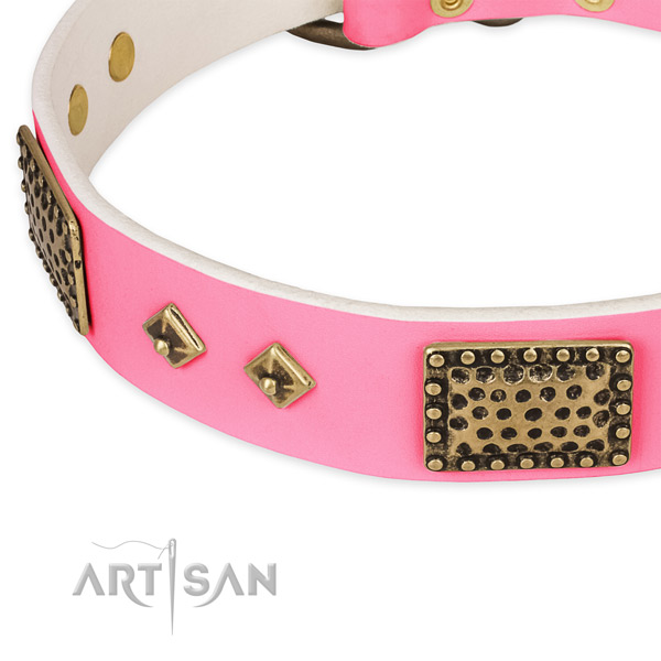Full grain genuine leather dog collar with studs for easy wearing