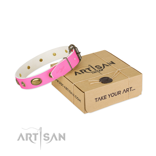 Fine quality full grain genuine leather collar for your attractive doggie