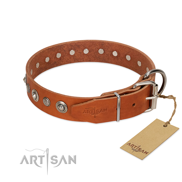 Strong full grain natural leather dog collar with stylish decorations