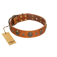 """Rockstar"" FDT Artisan Tan Leather Doberman Collar with Engraved Studs and Medallions"