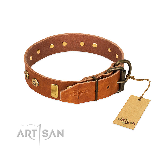 Exceptional studded leather dog collar of soft material