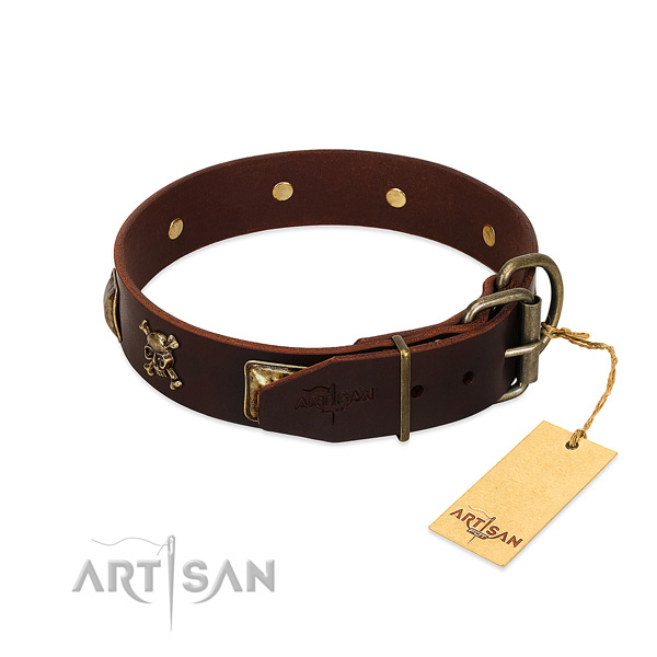Flexible genuine leather dog collar with unique studs
