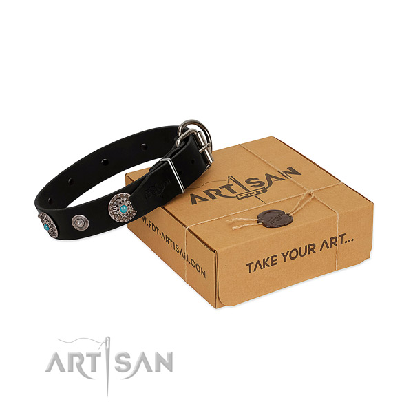 Handy use soft to touch full grain leather dog collar with embellishments