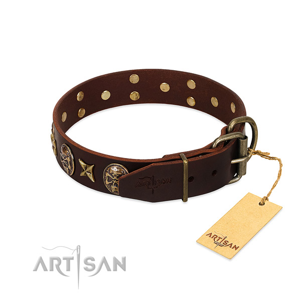 Durable studs on full grain leather dog collar for your four-legged friend