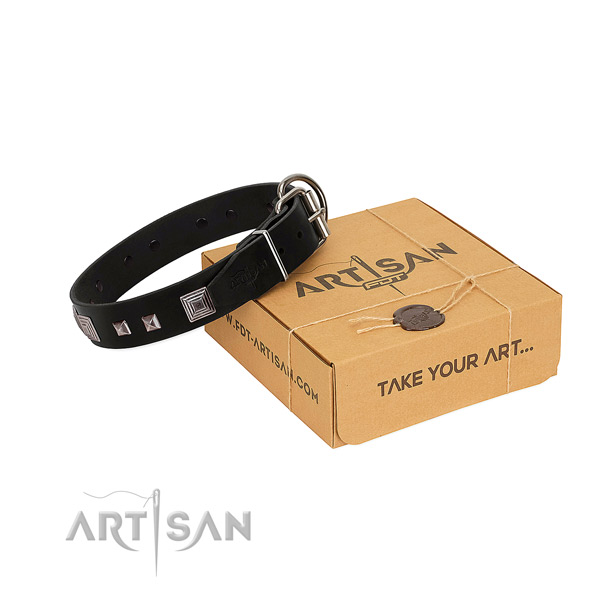Perfect fit genuine leather collar with adornments for your doggie