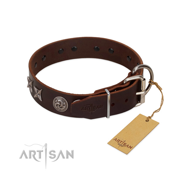 Incredible decorated full grain genuine leather dog collar