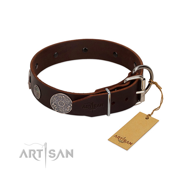 Reliable fittings on full grain leather dog collar