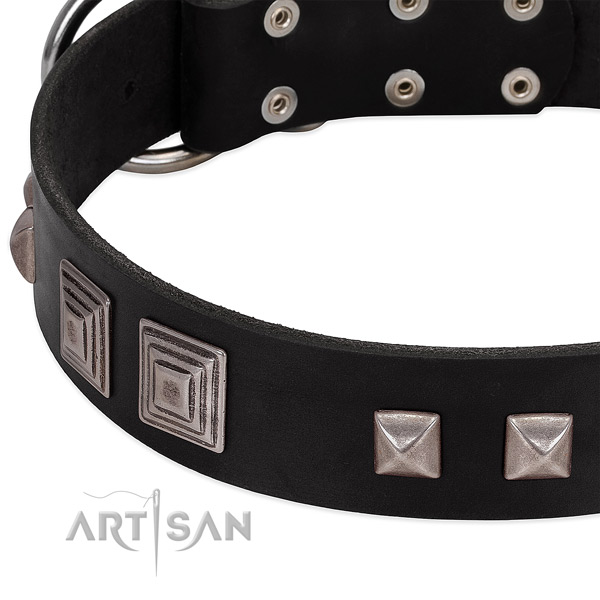 Strong hardware on natural genuine leather dog collar for fancy walking