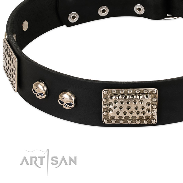 Durable adornments on full grain genuine leather dog collar for your pet