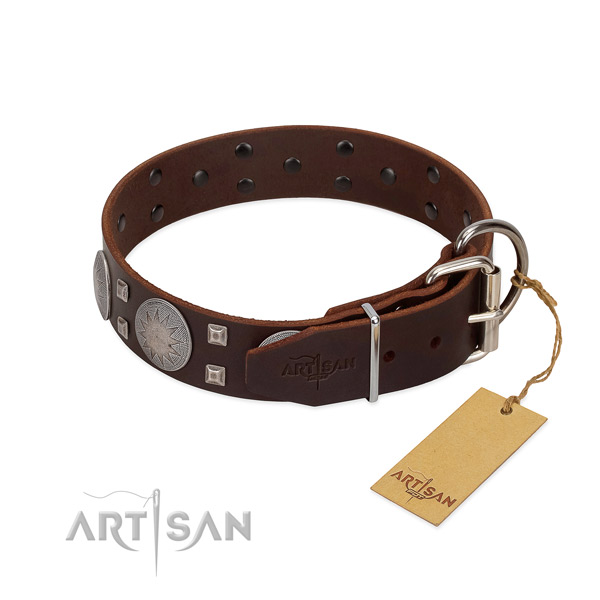 Inimitable genuine leather dog collar for walking your doggie