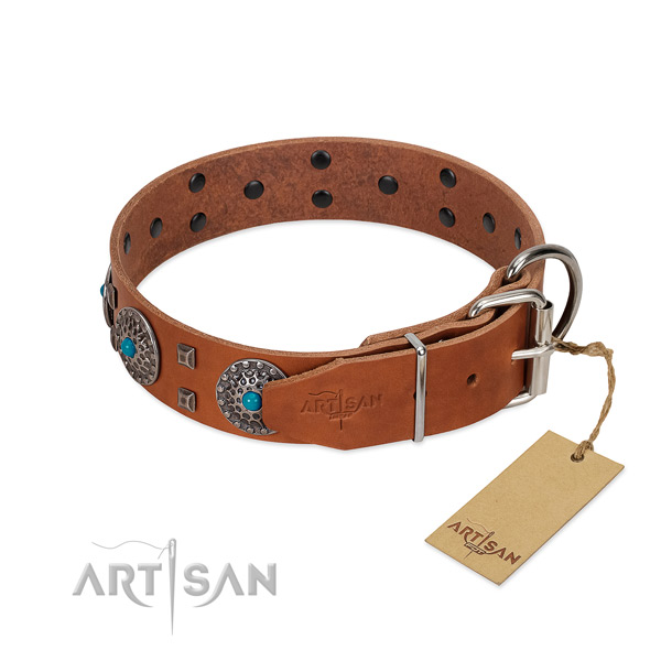 Best quality full grain natural leather dog collar with decorations for stylish walking