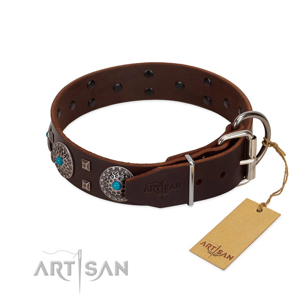 Gentle to touch leather dog collar with studs for handy use
