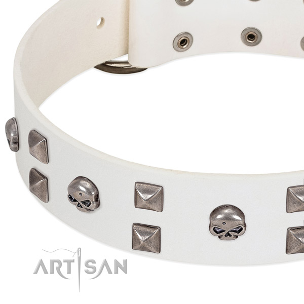 Strong natural leather dog collar made for your pet