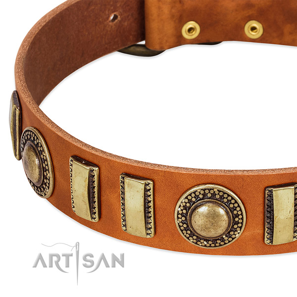 Flexible full grain natural leather dog collar with durable hardware