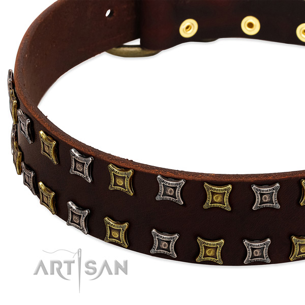 Soft full grain natural leather dog collar for your handsome pet