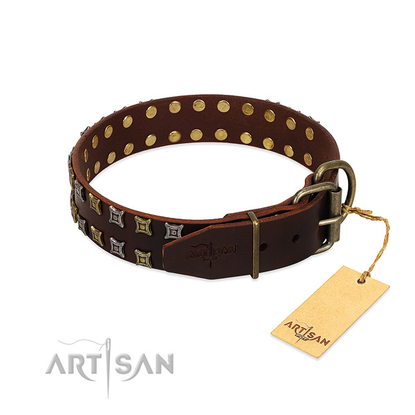 Durable natural leather dog collar made for your doggie