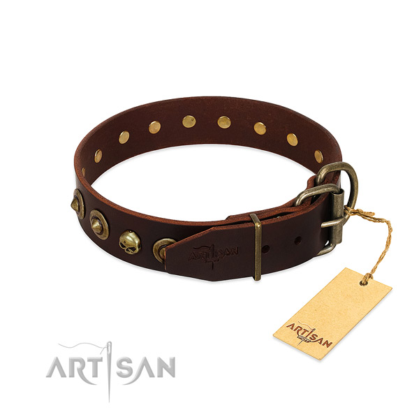 Full grain genuine leather collar with amazing adornments for your pet