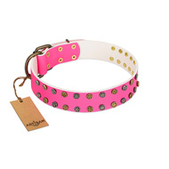 """Blushing Star"" FDT Artisan Pink Leather Doberman Collar with Two Rows of Small Studs"