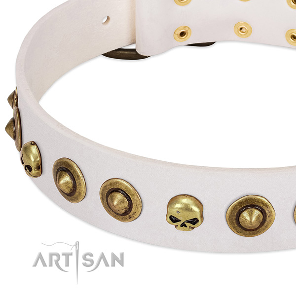Exquisite decorations on leather collar for your canine