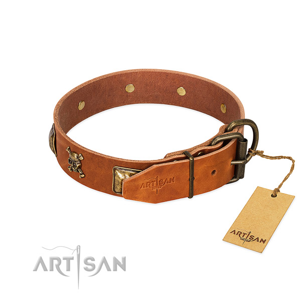 Exceptional full grain natural leather dog collar with reliable adornments