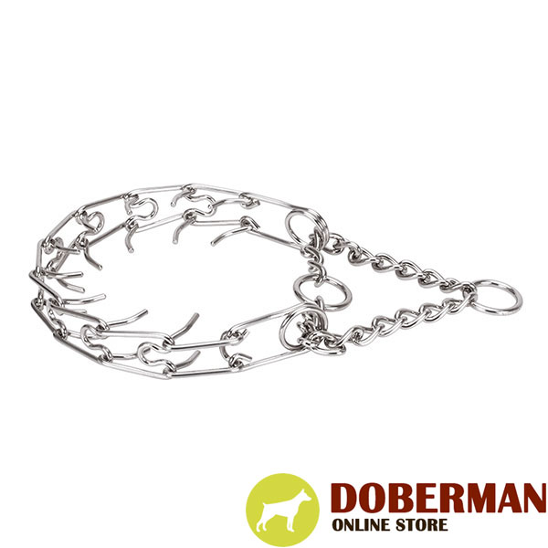Durable pinch collar with stainless steel O-ring for attaching a leash