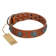 """Blue Sands"" FDT Artisan Tan Leather Doberman Collar with Silver-like Studs and Round Conchos with Stones"