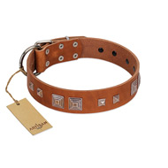 """Egyptian Gifts"" Handmade FDT Artisan Tan Leather Doberman Collar with Chrome-plated Pyramids"