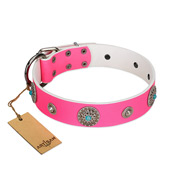 """Chili Mood"" Designer Handmade FDT Artisan Pink Leather Doberman Collar"