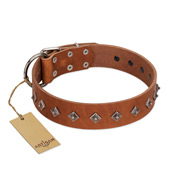 """Broadway"" Handmade FDT Artisan Tan Leather Doberman Collar with Dotted Pyramids"