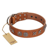 """Brave Spirit"" Handmade FDT Artisan Designer Tan Leather Doberman Collar with Shields"