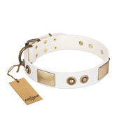 """Noble Impulse"" FDT Artisan White Leather Doberman Collar Adorned with Antique Plates and Studs"