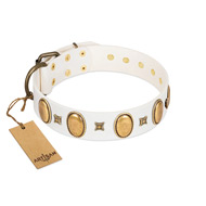 """Chichi Pearl"" Designer Handmade FDT Artisan White Leather Doberman Collar with Ovals and Studs"