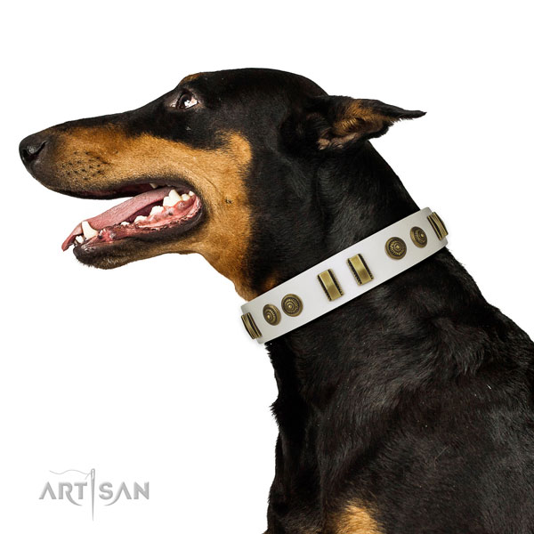 Reliable hardware on full grain leather dog collar for handy use
