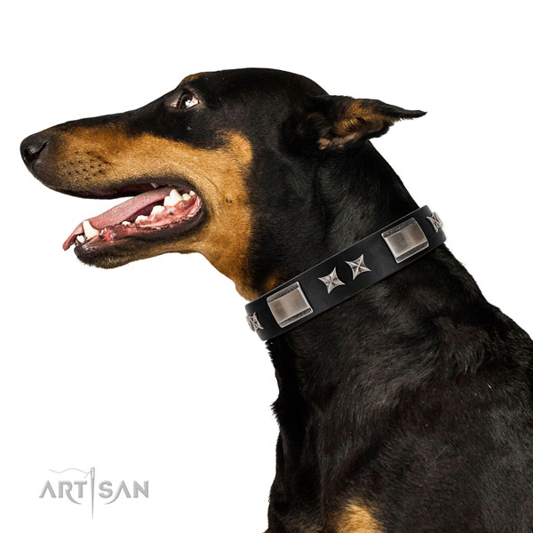 Easy wearing gentle to touch leather dog collar with decorations