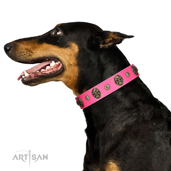 Strong D-ring on full grain genuine leather dog collar for everyday use