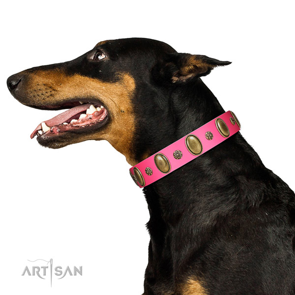 Stylish walking gentle to touch leather dog collar with embellishments