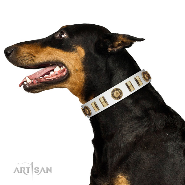 Embellished natural leather dog collar with corrosion proof buckle