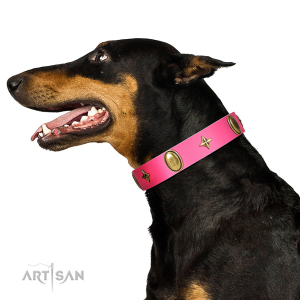 Soft to touch genuine leather collar with inimitable decorations for your dog