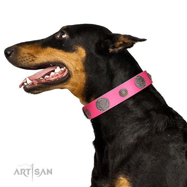 Corrosion resistant D-ring on genuine leather dog collar