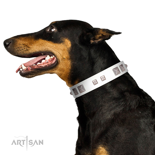 Full grain genuine leather dog collar of gentle to touch material with unusual embellishments