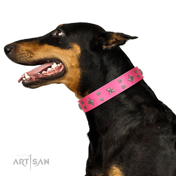 Natural leather dog collar with reliable D-ring