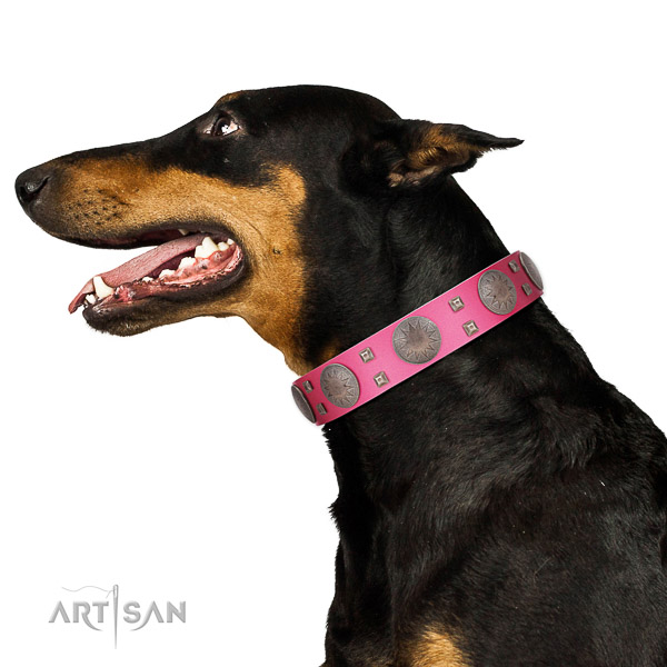 Gentle to touch leather dog collar with rust-proof buckle