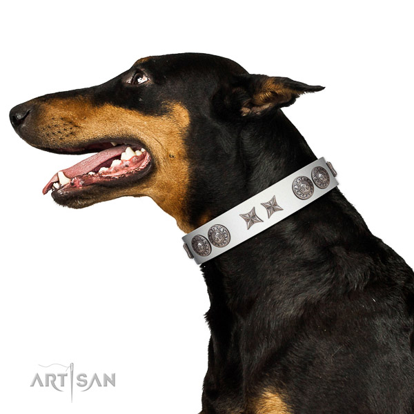 Gentle to touch natural leather dog collar with reliable hardware